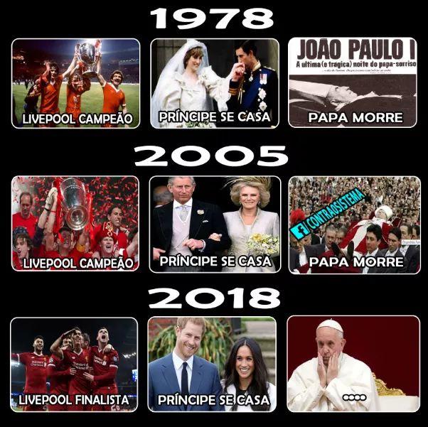 Profecia diz que o papa vai morrer se o Liverpool for campeão no mesmo ano do casamento de um príncipe! Será verdade?