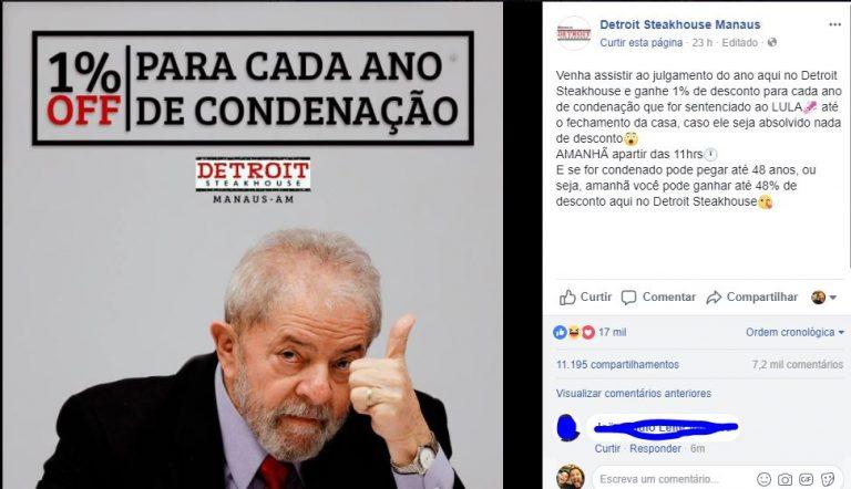 Restaurante em Manaus prometeu dar 1% de desconto para cada ano de prisão do Lula?