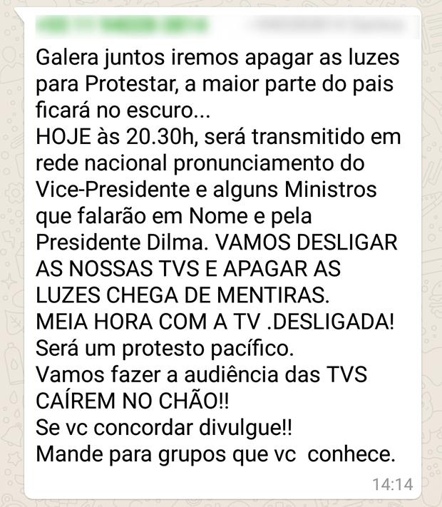 Texto espalhado pelo WhatsApp convoca a todos para um boicote ao pronunciamento do vice-presidente à nação! Será verdade?