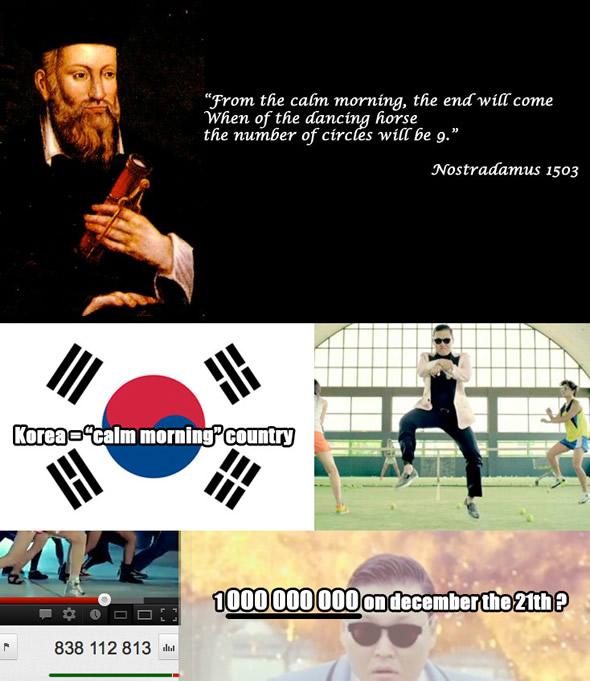Montagem que circula pela web afirma que o mundo vai acabar quando o clipe do Psy alcançar 1 bilhão de visualizações!