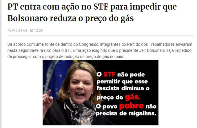 O PT entrou com ação no STF para impedir que Bolsonaro reduza o preço do gás?