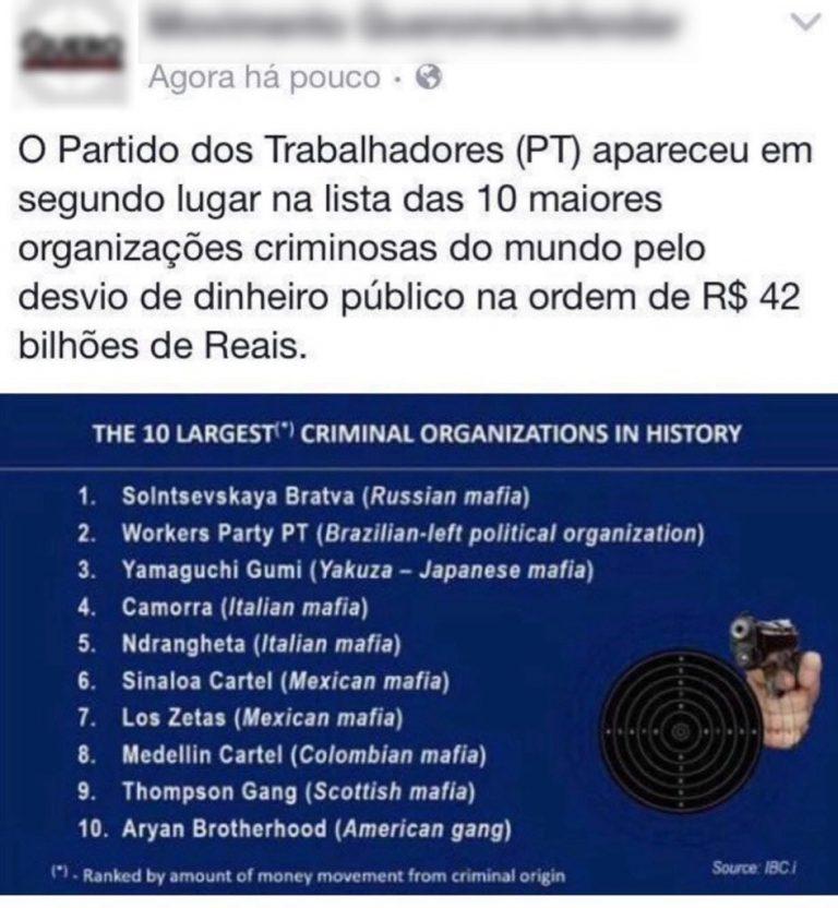 O PT é a segunda maior organização criminosa do mundo?