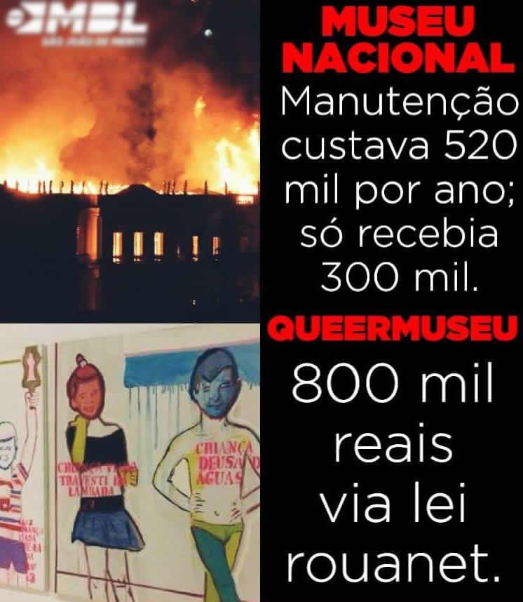 O Museu Nacional recebia 300 mil por ano enquanto que o Queermuseu recebeu 800 mil da Lei Rouanet?
