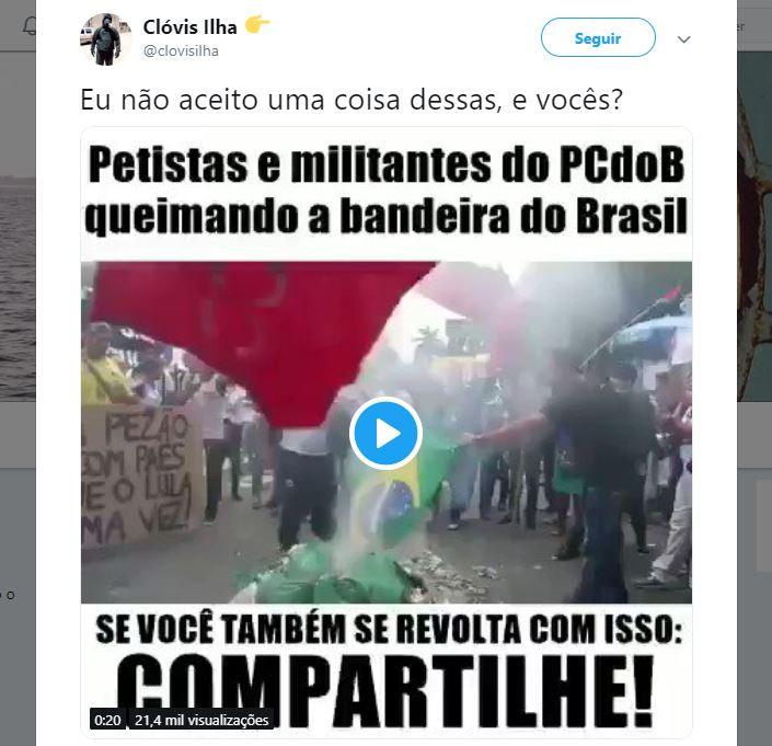 Militantes do PT e do PCdoB queimaram a bandeira do Brasil durante manifestação?