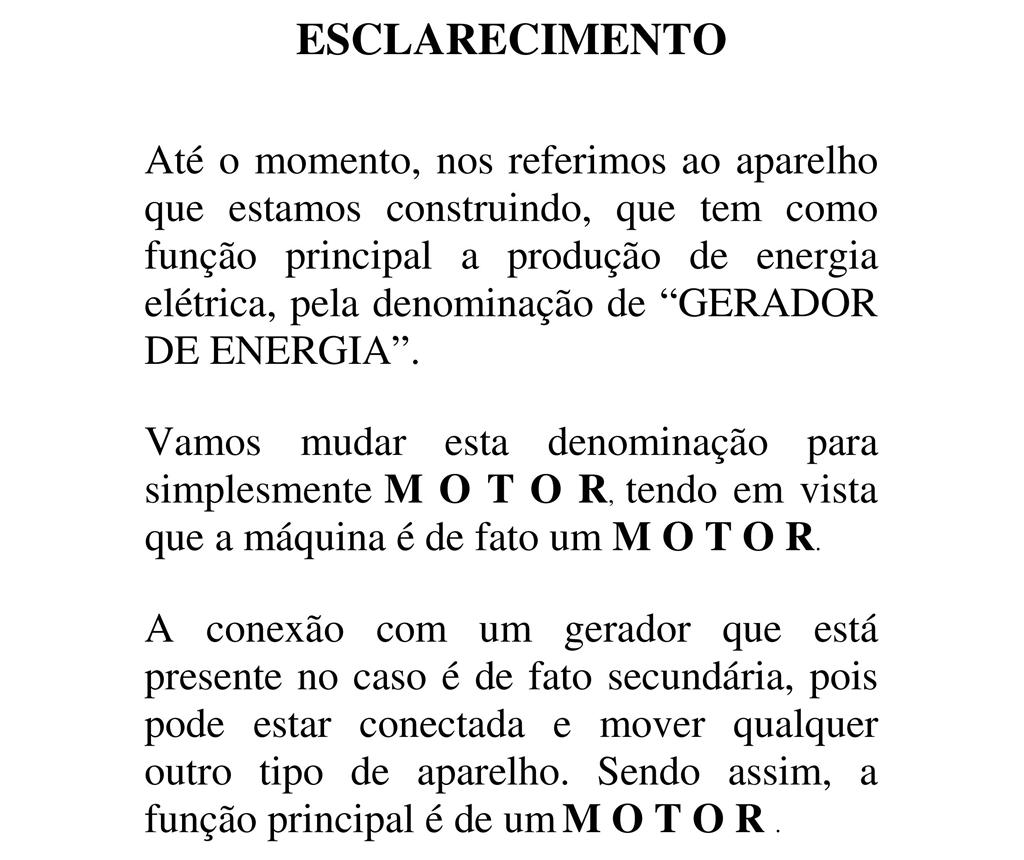"""Reprodução do site da RAR Energia com a explicação da mudança do termo """"gerador"""" para """"motor"""""""