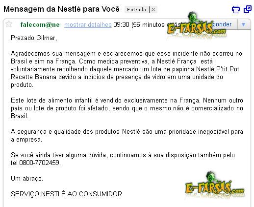 Resposta da Nestlé sobre a papinha Banana