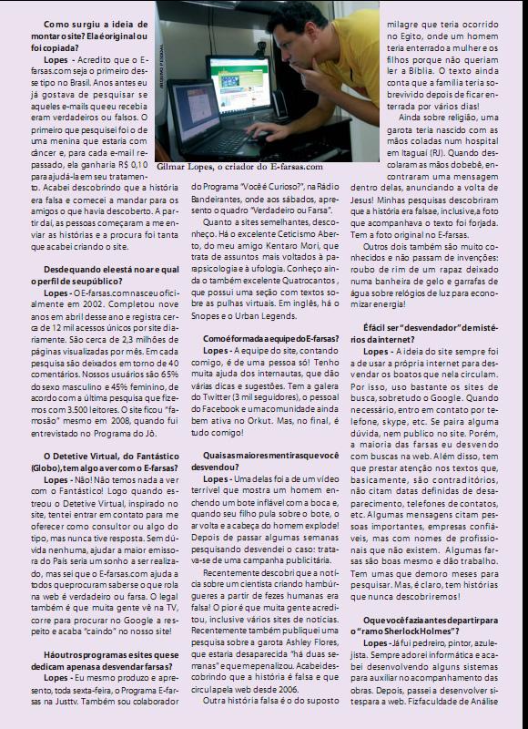 Edição 67 da Revista Século de Rondônia - Entrevista com o E-farsas parte 2 (Reprodução)