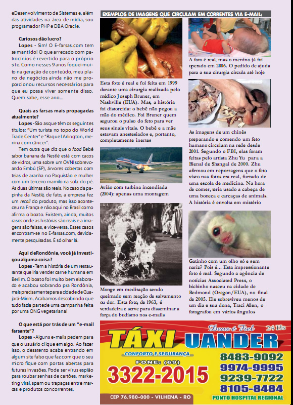 Edição 67 da Revista Século de Rondônia - Entrevista com o E-farsas parte 3 (Reprodução)
