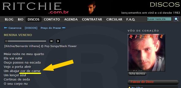 """Trecho da música """"Menina Veneno"""" no site oficial do cantor! (foto: reprodução)"""