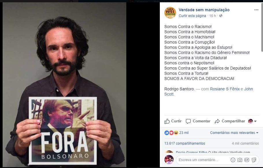 """e1dfa87a6f99b Política desmistificada  Rodrigo Santoro posta foto com um """"Fora ..."""