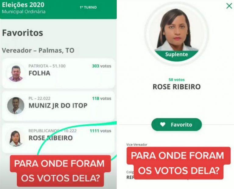 Candidata a vereadora de Palmas/TO teve seus votos reduzidos de 1111 para 58?