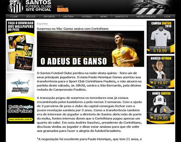 Reproduçao do site do Santos com a notícia alterada!