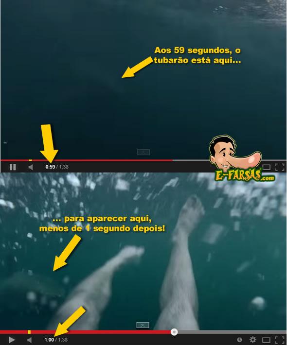 O tubarão parece mudar de um local para outro no vídeo!