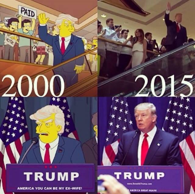 """Resultado de imagem para Episódio de 2000 de """"Os Simpsons"""" previa a vitória de Trump"""