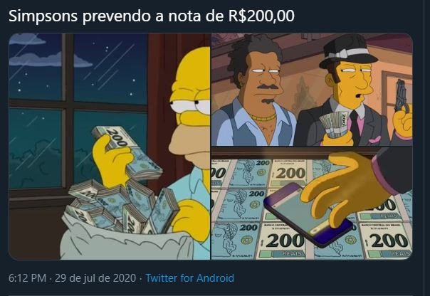 O desenho Os Simpsons previu a nova nota de 200 reais?