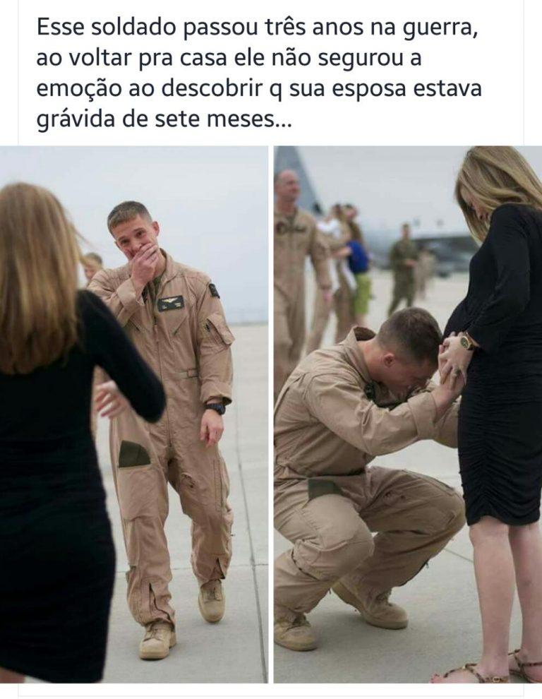 Soldado passou 3 anos na guerra reencontra a esposa grávida de 7 meses!