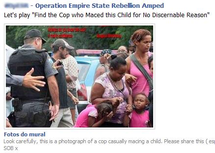 Foto mostra policial jogando spray de pimenta em crianças! Será?