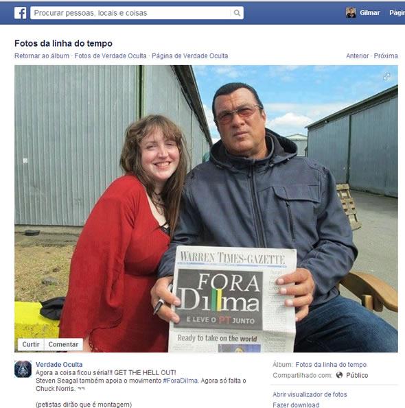 Ator norte-americano apoiando a campanha Fora Dilma! Verdadeiro ou falso? (foto: Reprodução/Facebook)