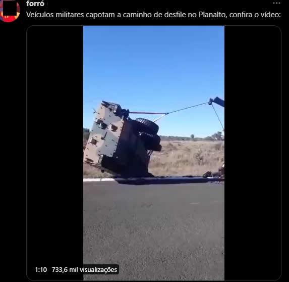 Vídeo mostra tanque das Forças Armadas capotando a caminho de Brasília! Será verdade?