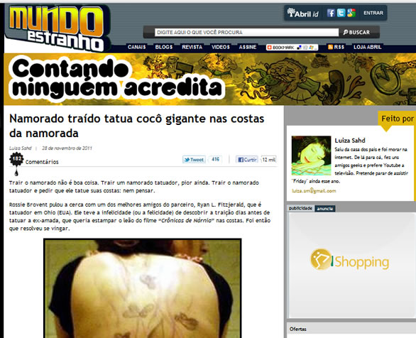 Mundo Estranho e a notícia da tatuagem de fezes!