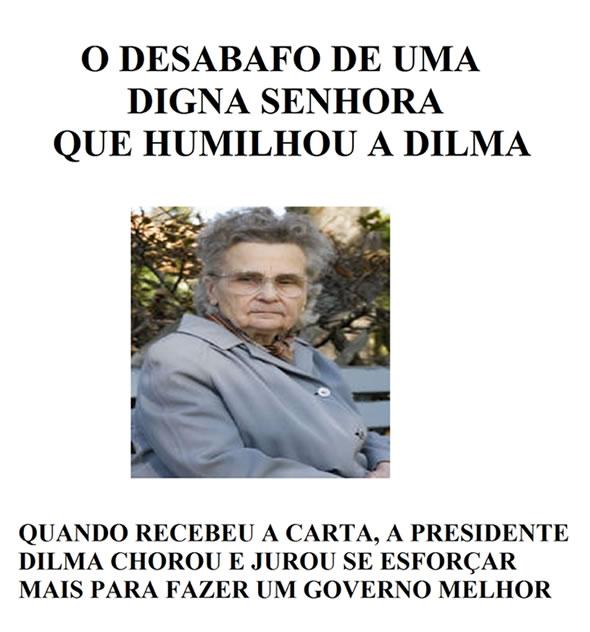 Engenheira de 93 anos teria enviado uma carta que fez a presidente Dilma chorar! Verdade ou farsa? (foto: Reprodução/Facebook)