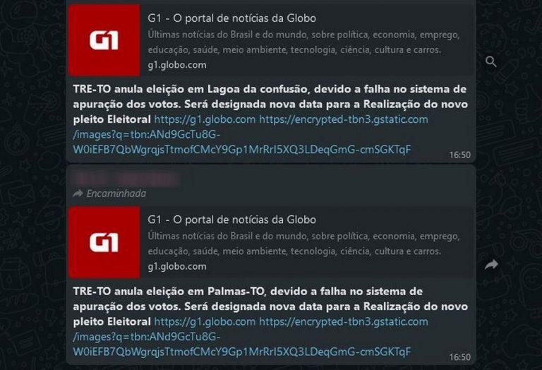 É falso que o TRE-TO anulou as eleições em diversas cidades do Tocantins!