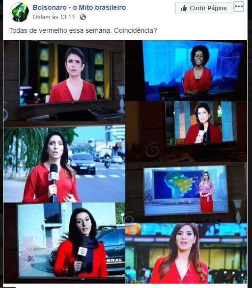 As jornalistas da Globo apresentaram telejornais vestidas de vermelho em homenagem à soltura de Lula?