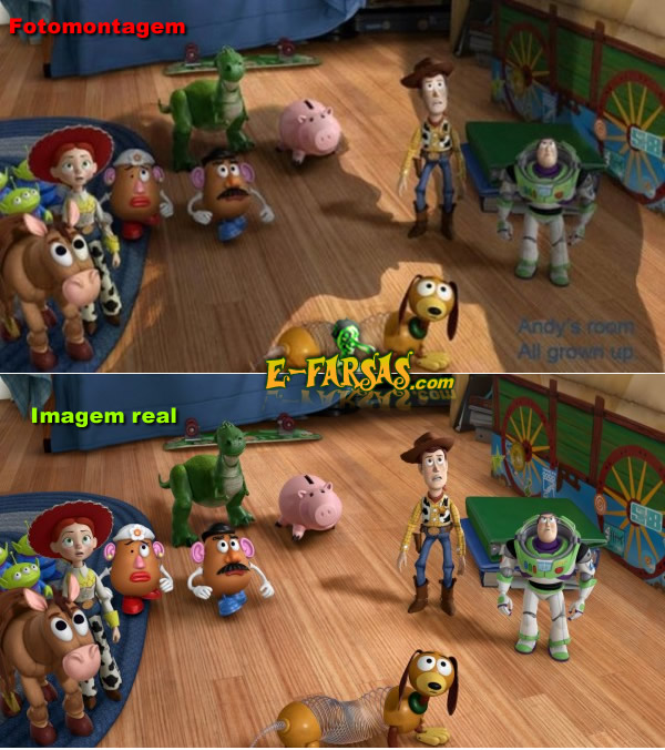 Toy Story - Comparando a foto real com a montagem