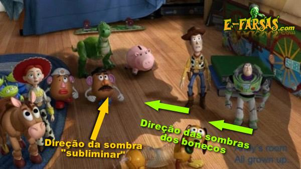 Direção das sombras dos bonecos em relação à sombra falsa!
