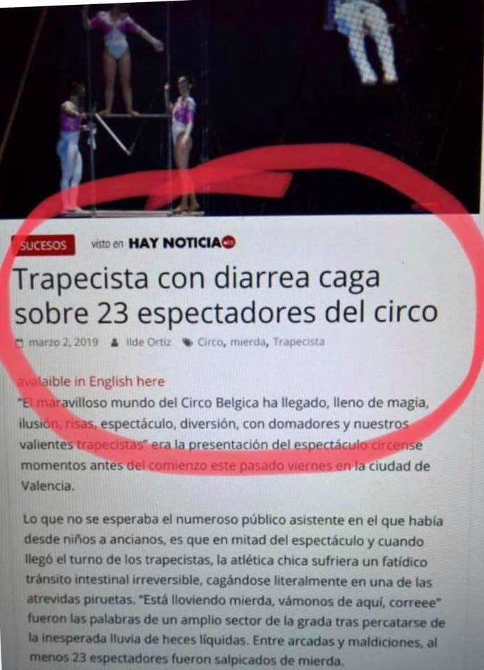 Uma trapezista com diarreia defecou em cima de 23 espectadores em um circo?