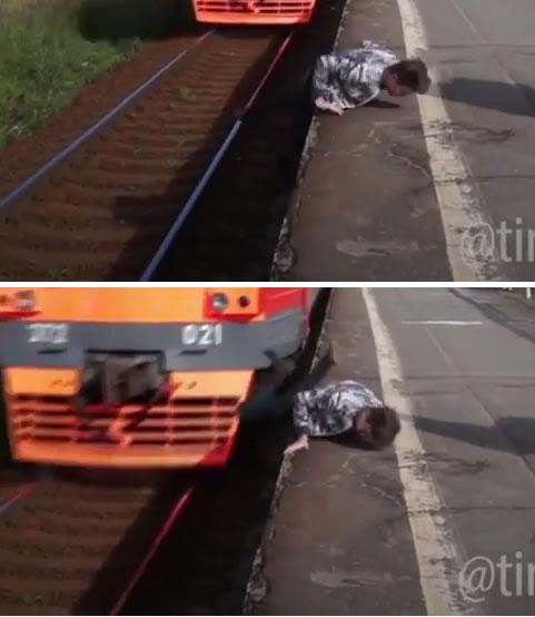 Homem salva um bebê e quase foi atropelado por um trem! Será?