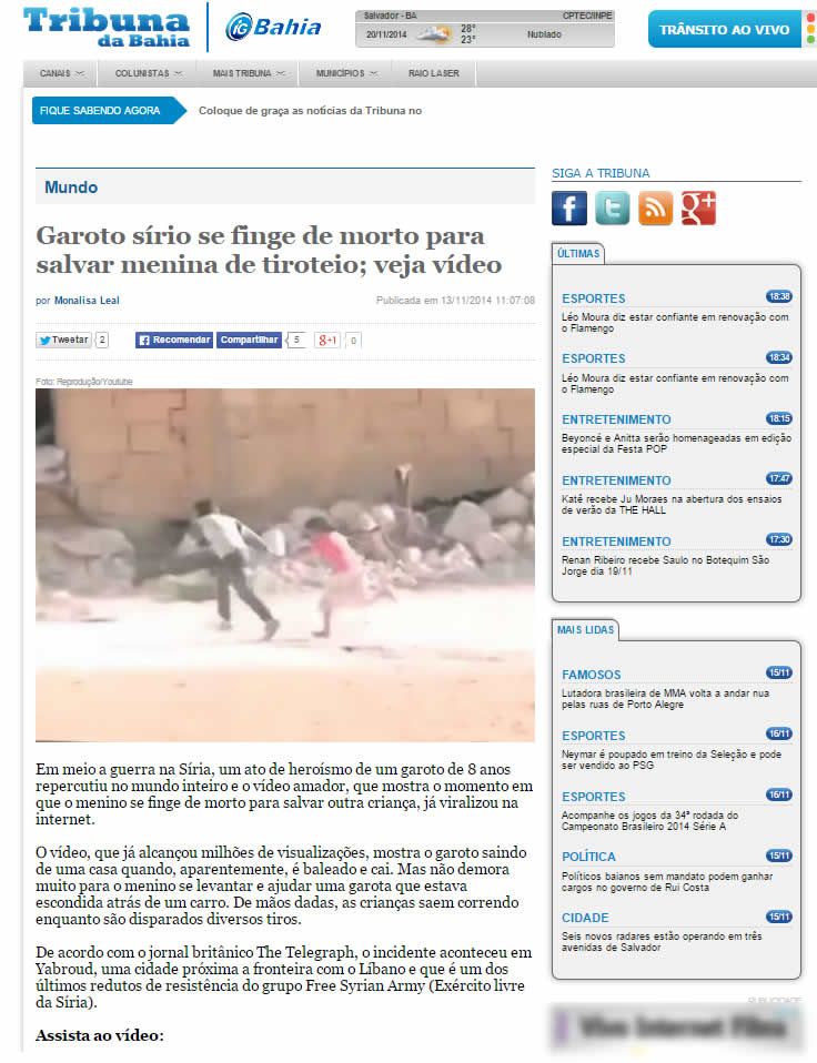 O Tribuna da Bahia também foi no embalo, assim como diversos outros portais de notícia no mundo todo!