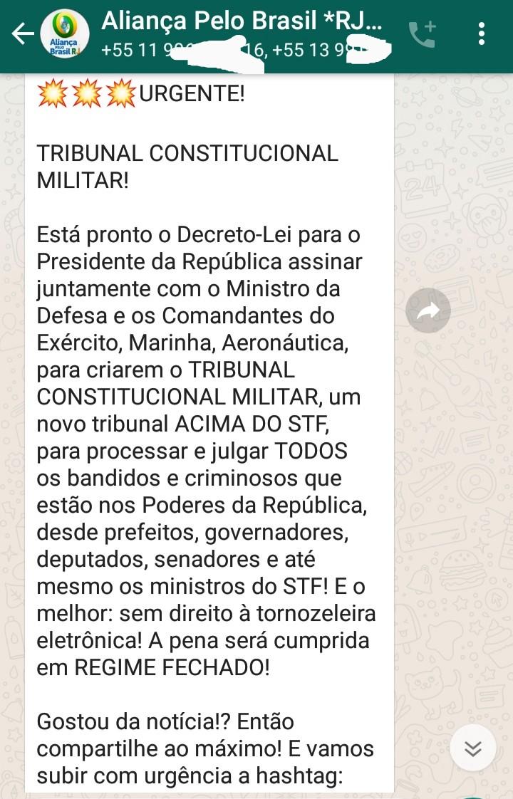 É verdade que o presidente criou um Decreto-Lei que cria o Tribunal Constitucional Militar?
