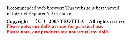 Aviso no site da Trottla explica que suas bonecas não foram feitas para fins sexuais!