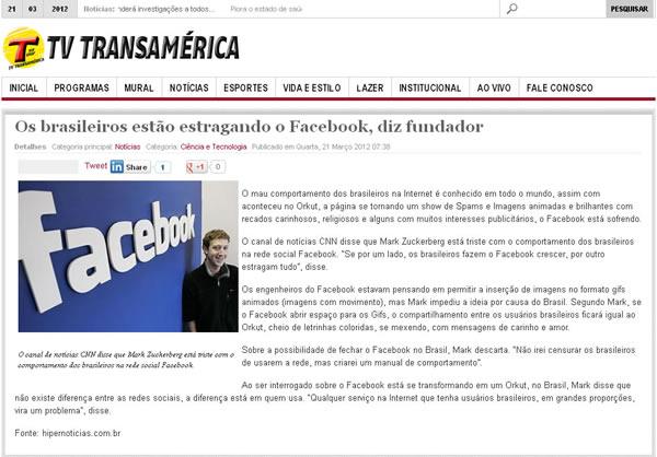 Também no site da TV Transamerica