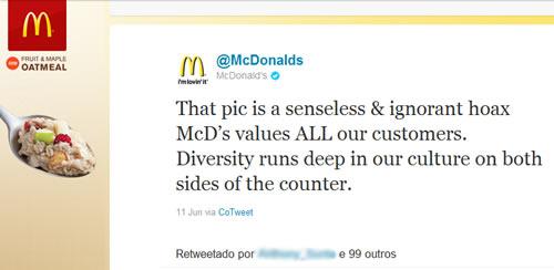 Reprodução do Twit do Mcdonalds