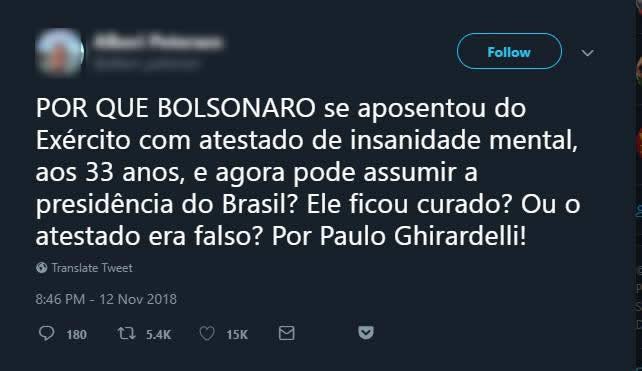 Bolsonaro se aposentou do Exército com atestado de insanidade mental?