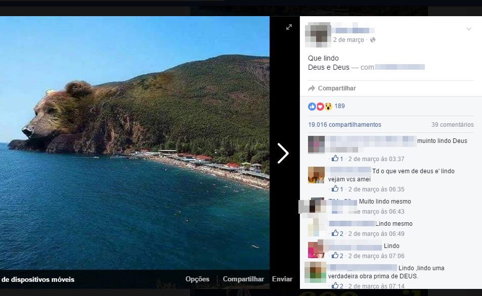 Montanha tem a forma da cabeça de um urso! Verdade ou farsa? (foto: Reprodução/Facebook)