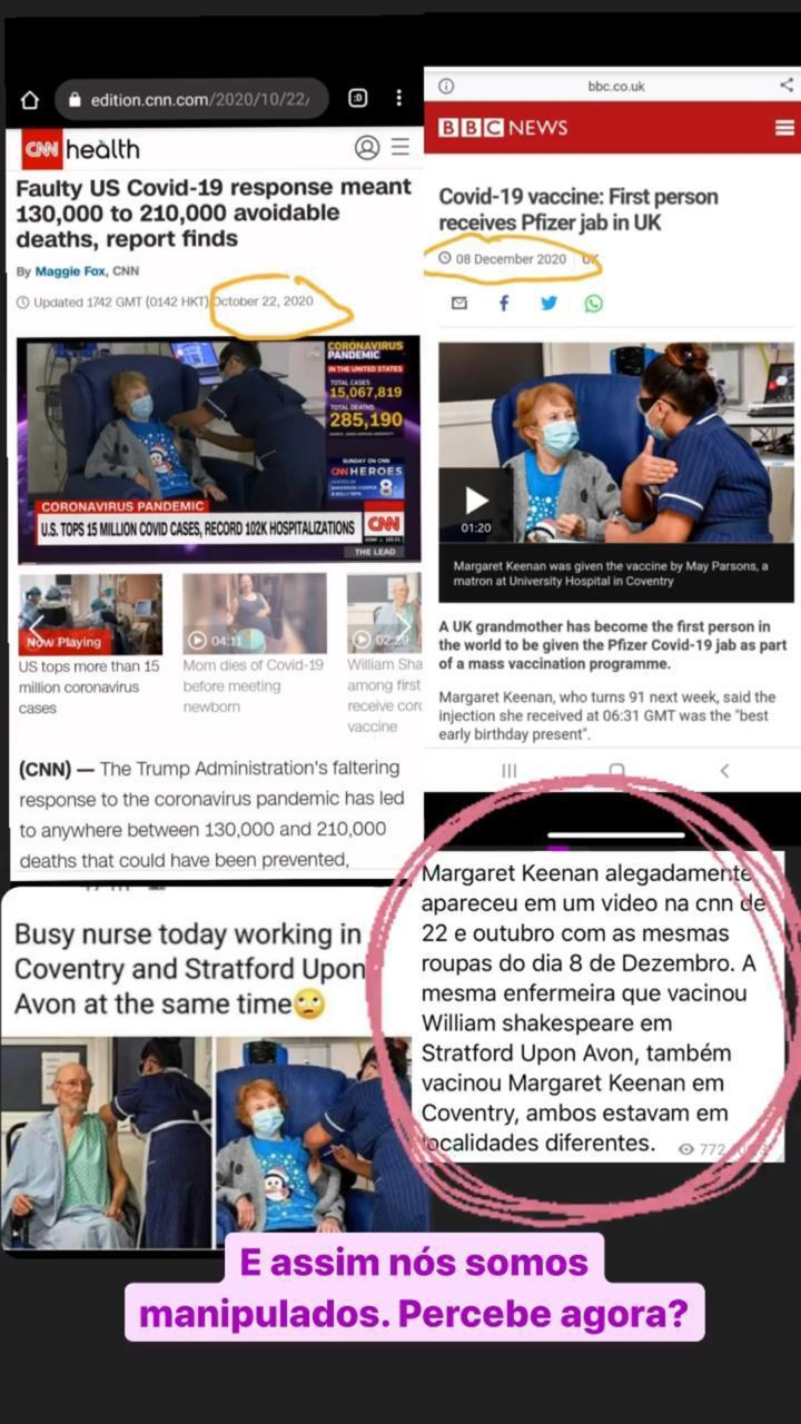 A CNN e a BBC mostraram a primeira pessoa tomando vacina em dias diferentes?