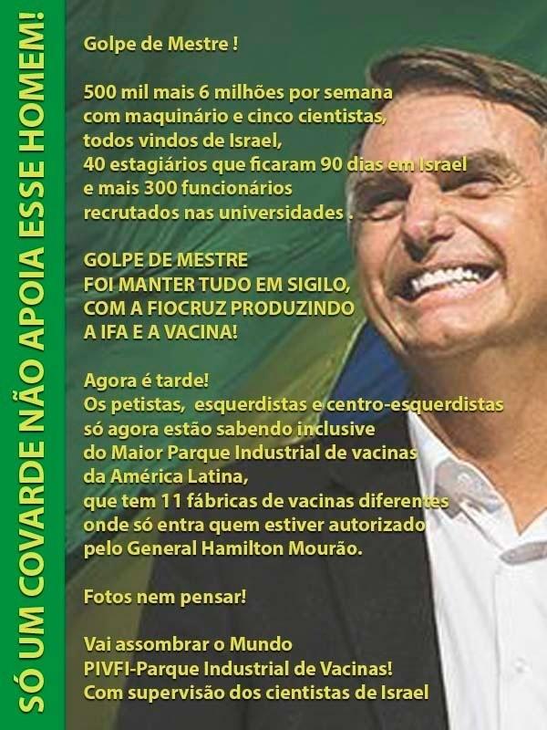 Bolsonaro desenvolveu uma vacina em segredo com Pazuello na Fundação Fiocruz?