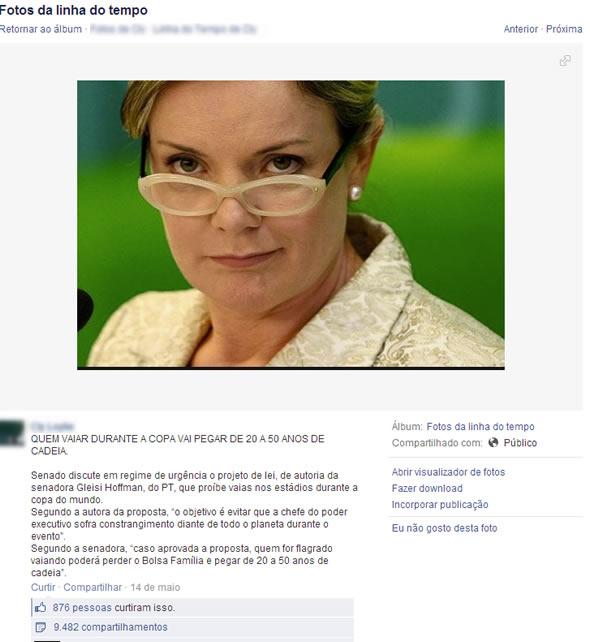 Senadora apresentou um Projeto de Lei que proíbe as vaias durante o jogo da Copa! Verdadeiro ou falsa? (foto: Reprodução/Facebook)
