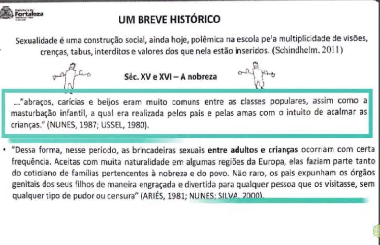 A Prefeitura de Fortaleza elaborou uma cartilha ensinando aos professores a manipular as partes íntimas dos bebês?