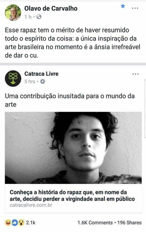 Brasileiro vai perder a virgindade anal em público em nome da arte?