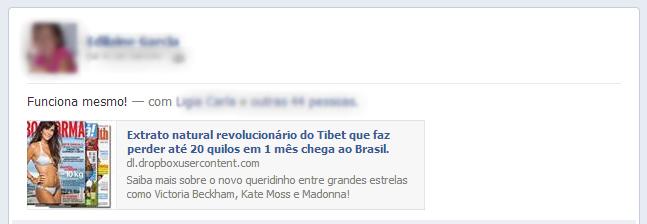 Propaganda publicada no Facebook promete extrato milagroso no auxílio da perda de peso! Será verdade?