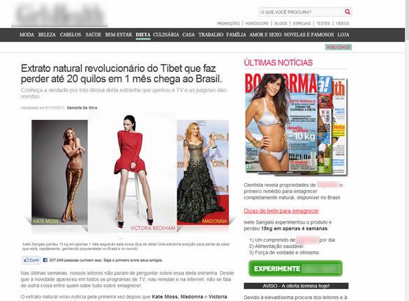 Modelo de site que engana o internauta tentando vender um produto que não funciona!