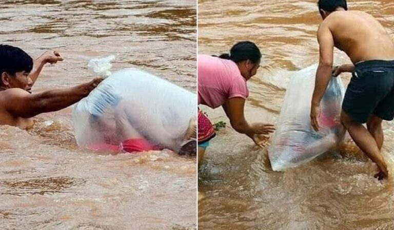 Crianças atravessam diariamente um rio em sacos plásticos! Será verdade?