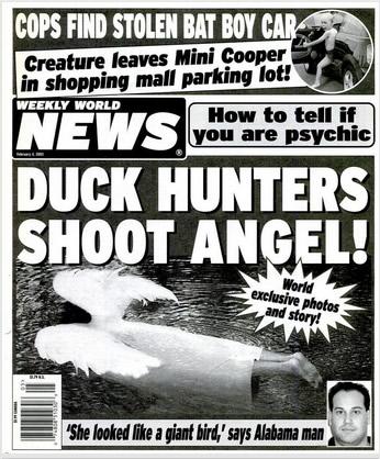 Capa da edição de fevereiro de 2003 do humorístico Weekly World News!
