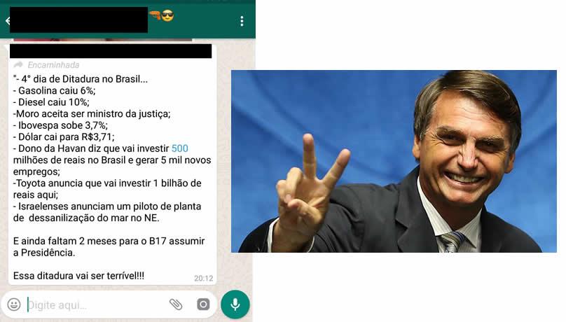 """Reprodução do texto compartilhado nos grupos do WhatsApp  """"4° dia de  Ditadura no Brasil… – Gasolina caiu 6%  – Diesel caiu 10%  – Moro aceita  ser ministro ... d64668f5f2450"""