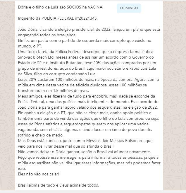 João Doria e o filho do Lula são sócios na vacina da Sinovac?