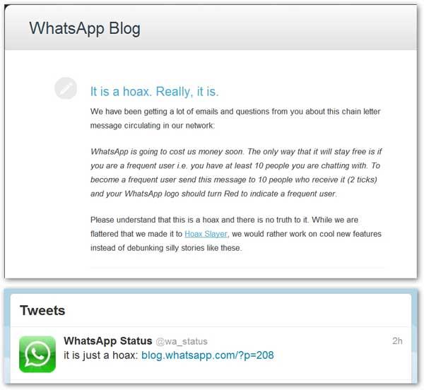 Reprodução do desmentido da própria WhatsApp
